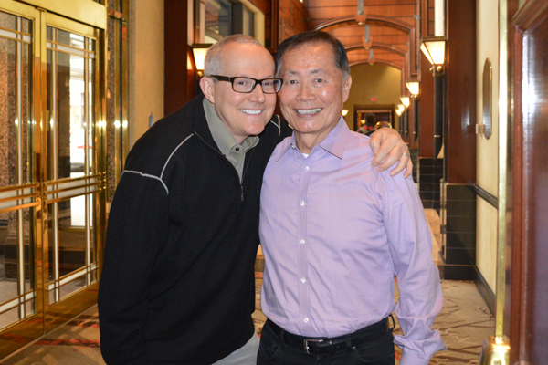 Brad and George Takei, seen here, after the screening of To Be Takei at the Hot Docs Film Festival. They two make up a large part of the film as it showcases their amusingly dysfunctional, yet amazing, relationship. Image courtesy: Chris Hope