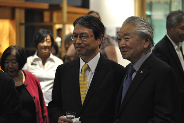 Toronto Consul General Eiji Yamamoto, left, and Raymond Moriyama, right, at the opening.