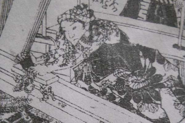 A working carpenter with tattoos in Edo period
