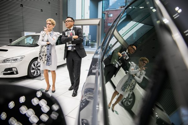 Ontario Premier Kathleen Wynne joins Fumiaki Hayata, Corporate Vice-President, Overseas Sales and Marketing, Subarau, on the showroom floor during a meeting with the leading automaker to discuss ways to drive growth and investment. In 2015, Ontario produced more than 2.2 million vehicles and employed over 103,000 people in the auto sector. This official Ontario Government photograph is being made available only for publication by news organizations and/or for personal use by the subject(s) of the photograph. The photograph may not be manipulated in any way. © Queen's Printer for Ontario, 2016