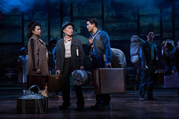 Left to right: Lea Salonga, George Takei, Telly Leung and Michael Lee in Arima's musical, 'Allegiance'. Photo credit: Matthew Murphy.