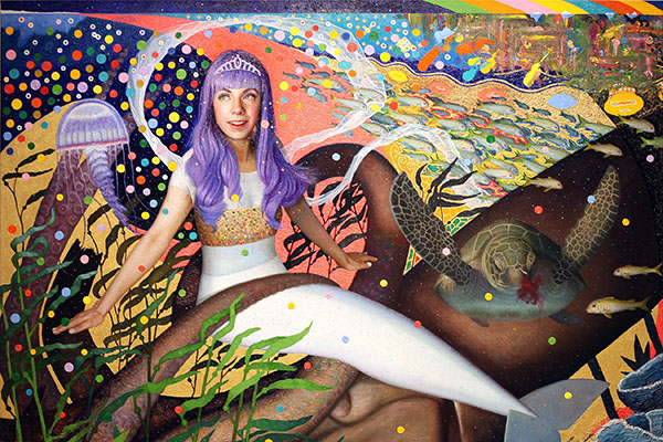 Canadian pop singer imagined as a purple-haired mermaid in Takeya's exhibition. Photo courtesy: Daisuke Takeya.